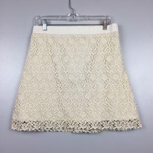 LOFT Crochet Cream Colored Skirt | 8